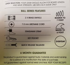 Here are the features of the Balin Bull Double 6ft surf leash